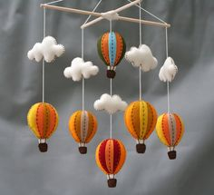 Autumn hot air balloons baby mobile Tuscany  hot by LovelySymphony, $70.00
