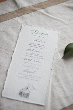 Rustic Wedding Menu Simple Wedding Menu Handmade by lichenink