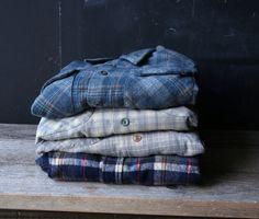 Shirt Wool Plaid Blue 60s Mens