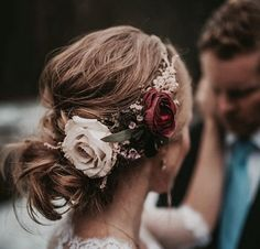 Instead of wearing a corsage, a floral hair arrangement could add spunk to a prom outfit.