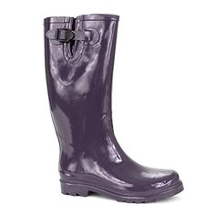 awesome Twisted Women's DRIZZY Tall Adorable Rubber Rain Boots On Sale- PURPLE, Measurement eight