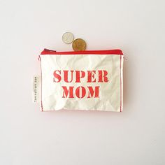 gift for mother your wife mother employee red SUPER MOM Your Wife, Super Mom, Clutch Wallet, Mother Gifts, Wallets, Coin Purse, My Etsy Shop, Sewing, Trending Outfits