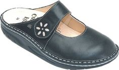 Finn Comfort Women's Side - available at Malkin's Functional Footwear! Arch molded clog, cute and sensible!!