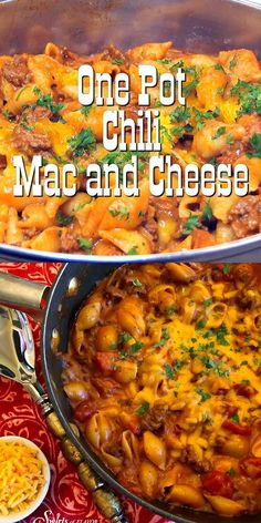 One Pot Chili Mac and Cheese is an easy dinner recipe that combines two all-time comfort food favorites mac and cheese and chili. This skillet dinner is filled with cheesy saucy goodness pasta and ground beef chili and yes its made in just one pot! One Pot Dinners, Easy One Pot Meals, Dinner Recipes Easy Quick, Quick Easy Meals, Recipes Dinner, Easy Large Group Meals, Summer Crock Pot Recipes, Easy Healthy Crockpot Recipes, Food Dinners