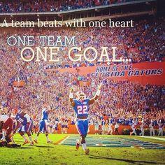 A team beats with one heart. One team. One Goal . Once a Gator, Always a Gator Fla Gators, Florida Gators Football, College Football Teams, Gator Football, Florida Athletics, Sports Teams, Florida Girl, Old Florida, Gator Game