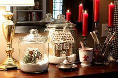 Love the gingerbread houses in jars!