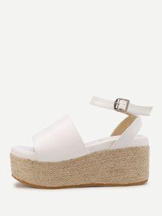 3c731f3d30e Shop Ankle Strap Woven Wedge Sandals online. SheIn offers Ankle Strap Woven Wedge  Sandals