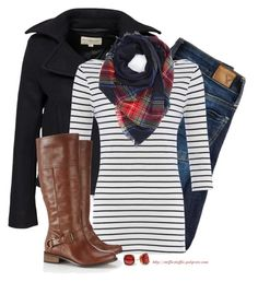 Plaid scarf, Stripes & short Pea coat by steffiestaffie on Polyvore featuring polyvore, fashion, style, French Connection, Denim & Supply by Ralph Lauren, American Eagle Outfitters, Wallis, Hartford and Kate Spade