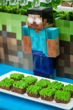 Grass Square Brownies from a Minecraft Birthday Party via Kara's Party Ideas KarasPartyIdeas.com (9)