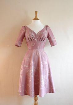 Rose Pink Damask Tea Dress