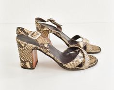 90s JIL SANDER block heel snake print leather by MillaLoopVintage