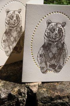 Bruce the Bear Set of 6 Letterpress Cards, from: http://www.etsy.com/shop/MinkLetterpress: in Letterpress