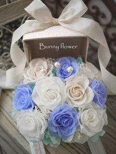プリザーブドフラワーリングピロー Bunny flower★    http://ameblo.jp/blog-charis/   http://www.rakuten.co.jp/bunny-flower/ サムシングブルー、ウエディング、ブライダル、ウェルカムフラワー、贈呈品