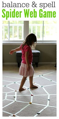 Great spelling game and gross motor skills activities . Balancing, letter recognition, spelling, and more all in a simple spider themed game. Spelling Games, Spelling Activities, Literacy Activities, Toddler Activities, Literacy Centres, Movement Activities, Physical Activities, Sensory Games, Gross Motor Activities