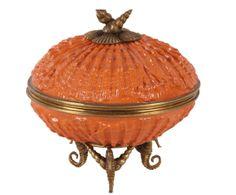 Caja de porcelana Shell, naranja y dorado - Ø18 cm