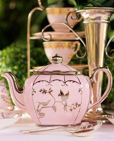 Pink and gold teapot, elegant fancy