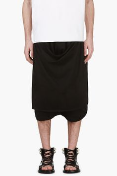 Ktz Black Apron Shorts for men | SSENSE