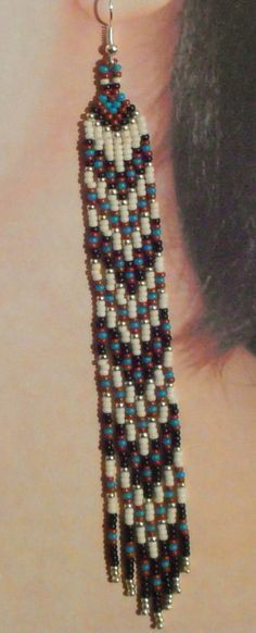 Native American Inspired Long Seed Bead Narrow by BlueTurtleMade