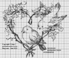 Oiseaux sur coeur branche