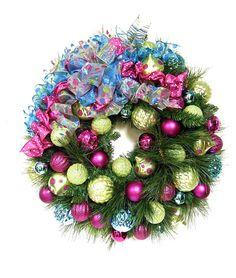 FREE SHIPPING Enter XMAS3 at Check Out Colorful Christmas Wreath Long Needle Double Pine Chartreuse Green, Hot Pink,  Lt. Turquoise Blue LAR