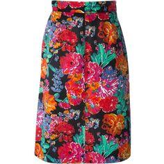Yves Saint Laurent Vintage Floral Print Pencil Dress ($355) ❤ liked on Polyvore featuring dresses, multicolour, vintage day dress, colorful dresses, multi colored dress, flower print dress and vintage floral dress