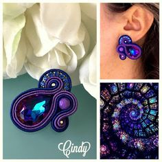 Veronique Creazioni Gypsy Style, Hippie Style, Beaded Jewelry Designs, Handmade Jewelry, Soutache Tutorial, Soutache Earrings, Fabric Jewelry, Diy Accessories, Polymer Clay Jewelry