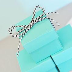 Set Of 12 Aqua Blue Cube Boxes
