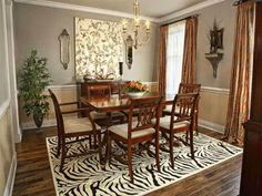 dining room sets contemporary design with zebra rug ideas and wood laminate floors plus curtaons and wooden sideboard with wooden dining table and elegant chairs design