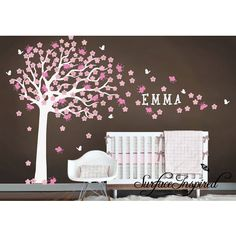 Nursery Wall Decals Large Cherry Blossom Tree Stickers with Custom Name Decal From Surface Inspired