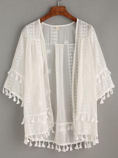 Kimono en mesh brodé avec franges - blanc -French SheIn(Sheinside)