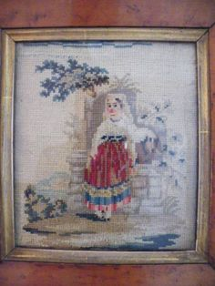 CHARMING ANTIQUE PETIT POINT WOOLWORK IN A HIGHLY PATINATED MAPLE PERIOD FRAME | eBay