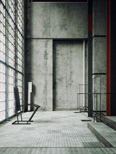 Visions of Industrial Death: Maison de Verre, 1928 - Pierre Chareau Space Architecture, Beautiful Architecture, Industrial Architecture, Interior Exterior, Interior Design, Monochrome Interior, Arte Yin Yang, 3d Art, Concrete Interiors
