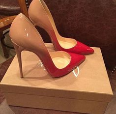 Christian Louboutin red patent leather fading into nude.