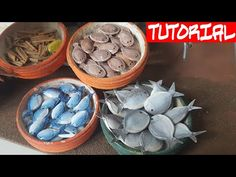💡 TUTORIAL: How to create some fishes 🐟 with only pumpkin seeds 🎃 - For Nativity scene market Miniature Houses, Miniature Food, Polymer Clay Miniatures, Serving Bowls, Seeds, Tutorial, Pumpkin, Create, Tableware