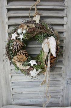"""Winter/Door Wreath """"angels roam the day…."""" image 0 Winter/Door Wreath """"angels roam the day…. Diy Spring Wreath, Summer Door Wreaths, Easter Wreaths, Diy Wreath, Moss Wreath, Straw Wreath, Grapevine Wreath, Christmas Wreaths, Christmas Crafts"""