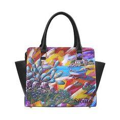 Borsa a mano, handbag donna in pelle con comoda tracolla coloratissima,di Siculo