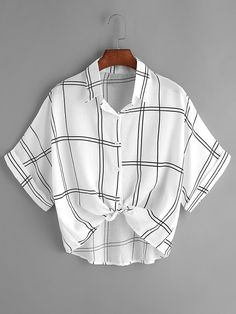 SheIn offers Grid Print Tie Front Cuffed Shirt   more to fit your  fashionable needs. e2a0c39ea09ae