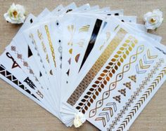 You Pick 20 Sheets - Gold, Silver and Black Metallic Temporary Tattoos - See Description for Instructions Gold Tattoo, Metal Tattoo, Flash Tattoos, Coachella, Christmas Wishes, Christmas Ideas, Temporary Tattoo, Festival Fashion, Tattoo Designs