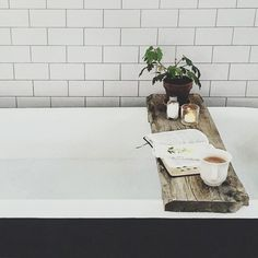 Add hygge details to your home like this rustic bath caddy Decoration Inspiration, Bathroom Inspiration, Interior Inspiration, Bathroom Ideas, Bathroom Trends, Decor Ideas, Up House, Cozy House, Bathtub Tray