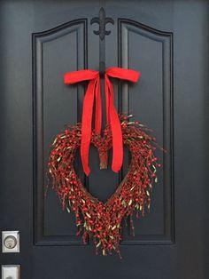 RED VALENTINE WREATH, Valentines Day Decor, Valentines Gift, Valentines Day Gift, Heart Decor, Valentines Day Wreaths, Door Heart Wreath