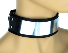 """Silver Metal Plate Choker Gothic Deathrock Leather Collar 1-3/4"""" Wide"""