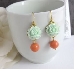 Mint Green Rose Earrings. Spring Summer with Coral Pearl Drops Floral Ear Accessory. Swarovski Pearl, Lead Free Ear Jewelry