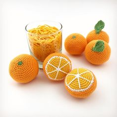 Freshly crocheted oranges by using DMC Just Natura Cotton Crochet Fruit, Crochet Food, Crochet Keychain, Orange Fruit, Modern Crochet, Embroidery, Photo And Video, Knitting, Juice