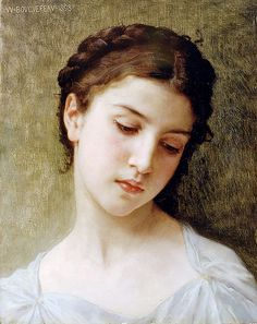 "Bouguereau William Adolphe - Head Of Young Girl 1898 (from <a href=""http://www.oldpainters.org/picture.php?/47322/category/15843""></a>)"