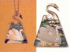 Swan pendant (shown with process sketch). Rene Lalique (1860-1945) Ca. 1899. Gold, enamel.