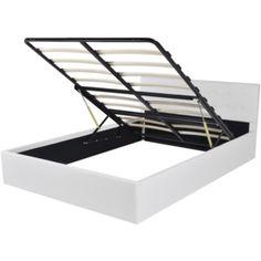 Biela posteľ z umelej kože s úložným priestorom 140 cm