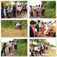 장길자회장님과 함께하는 클린월드운동. 이웃을 생각하고 지구촌을 생각하는 국제 위러브유 회원들이 지역 곳곳에 있는 쓰레기를 정화하고 있다.