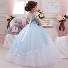 2016 Cute Baby Ball Gown Blue And White Girl's Pageant Dresses Half Sleeve Vestidos De Primera Communion Flower Girl Dresses