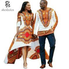 d687981b35 2017 letnia moda afrykańskie sukienki dla kobiet Afrykański batik drukuje  męskie topy pani Pary sukienka dla