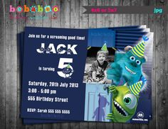 Monsters Inc Birthday Party Invitation Card Digital Printable File